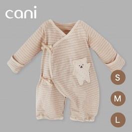 cani有機棉 綁帶防抓包屁衣-三色條紋(熊)