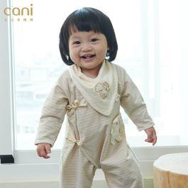 cani有機棉 綁帶防抓包屁衣-三色條紋