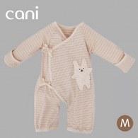 cani有機棉 綁帶防抓包屁衣-三色條紋(兔)